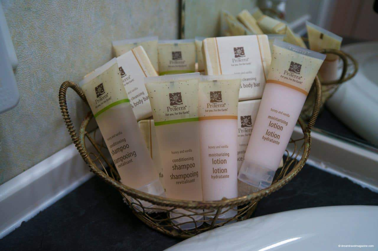 Toiletries in room Review West Point Lighthouse Inn PEI