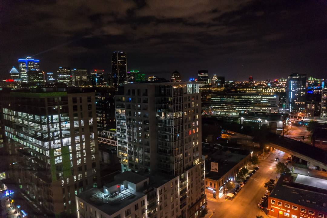 Montreal at night, view from room Alt Hotel Montreal Griffintown