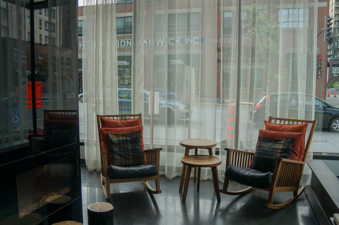 Lobby chairs Alt Hotel Montreal Griffintown