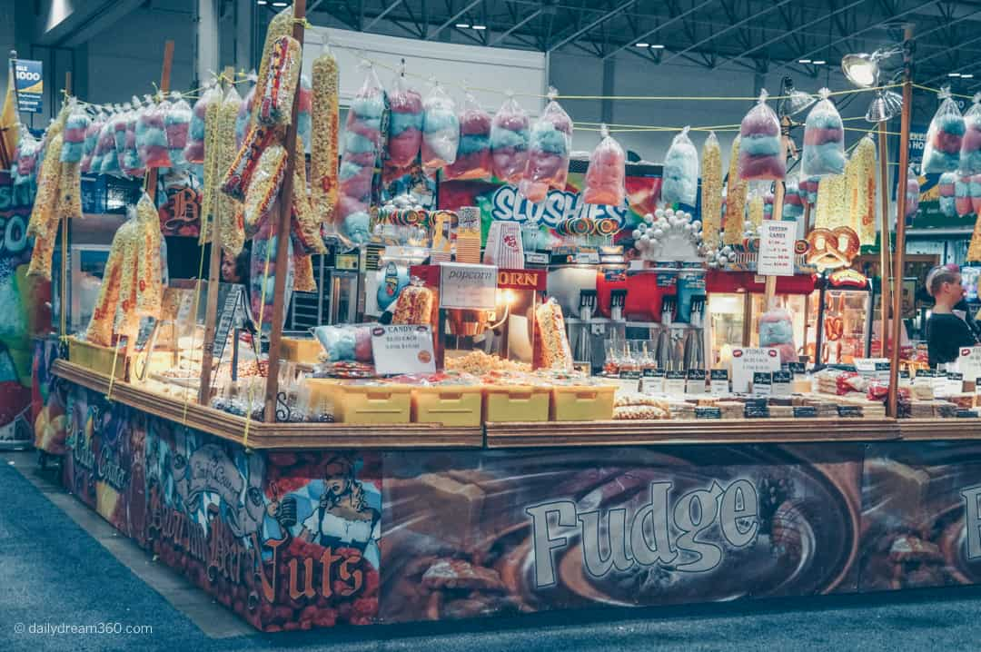 Kiosk with yummy fair foods like fudge, cotton candy and nuts on display at The Royal Agricultural Winter Fair in Toronto
