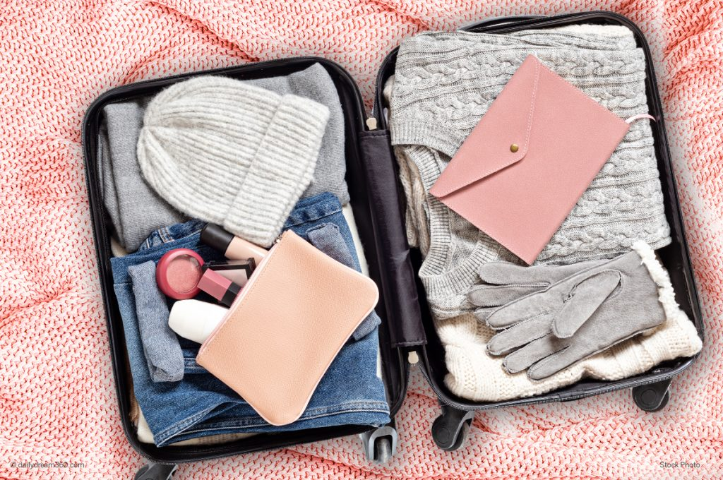 Winter clothing in carry-on suitcase