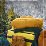 Winter clothing on suitcase with mountains in background with text How to Pack Light for Winter Travel with This Winter Clothing ListHow to Pack Light for Winter Travel with This Winter Clothing List. (pin image)