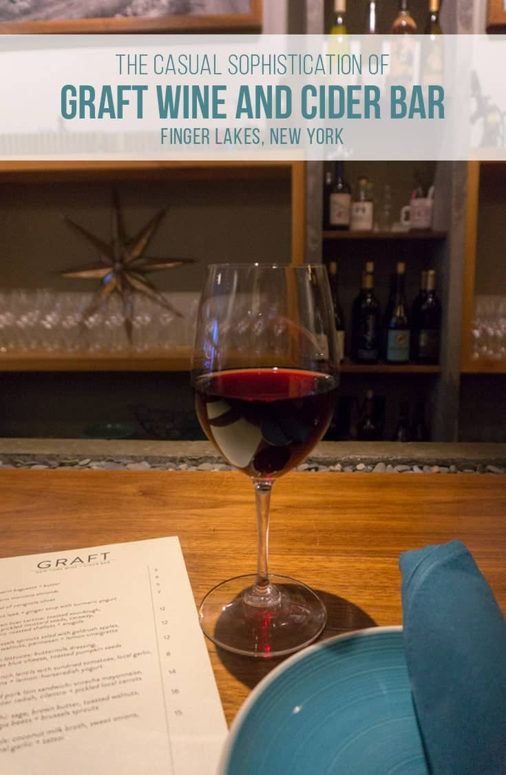 Graft Wine and Cider Bar is a restaurant with a quirky, casual, fine dining atmosphere in Watkins Glen New York. The locally sourced menu, and an impressive wine, cider and beer varieties is sure to inspire a great dinner. | #FingerLakes #restaurant #watkinsglen #upstateny |