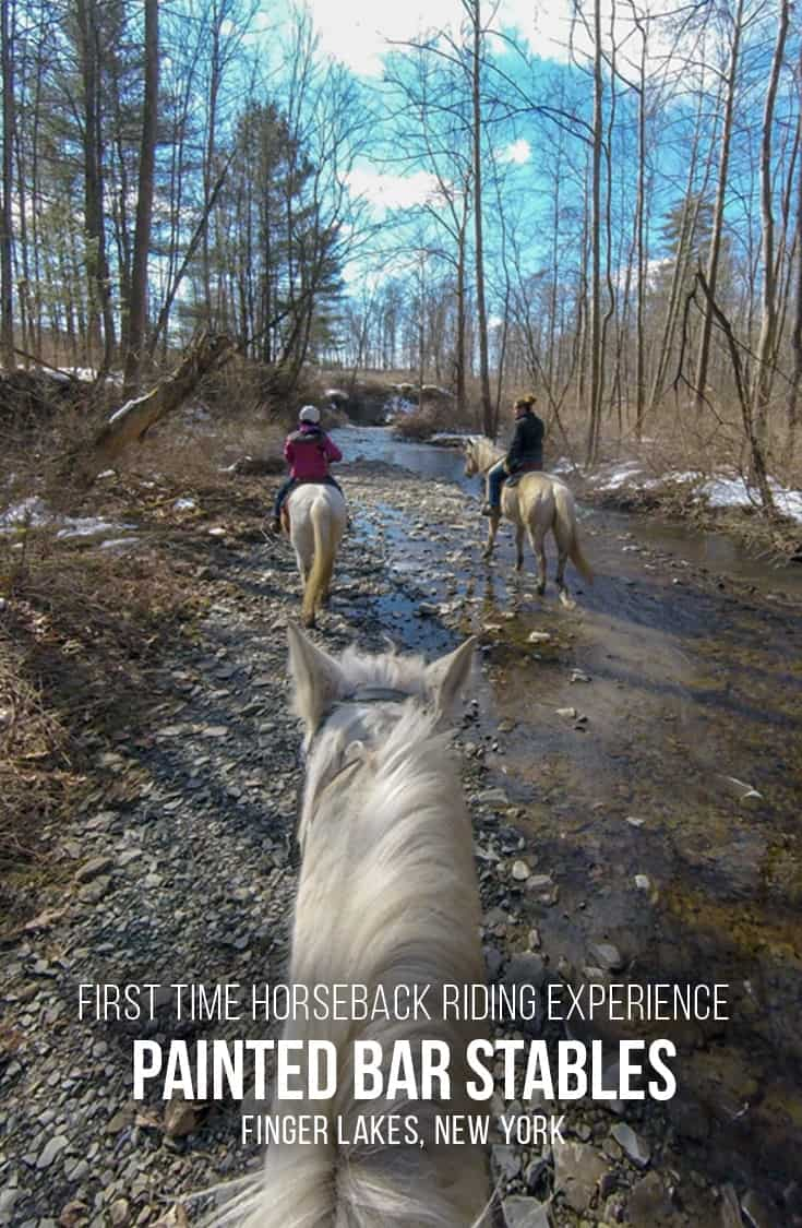 Visiting the Finger Lakes region in upstate New York? How about a horseback ride? We share our first-time horseback riding experience at Painted Bar Stables in Burdett, NY. | Horseback Riding | Beginner or First-Time | Trail Ride | Finger Lakes | Upstate New York |