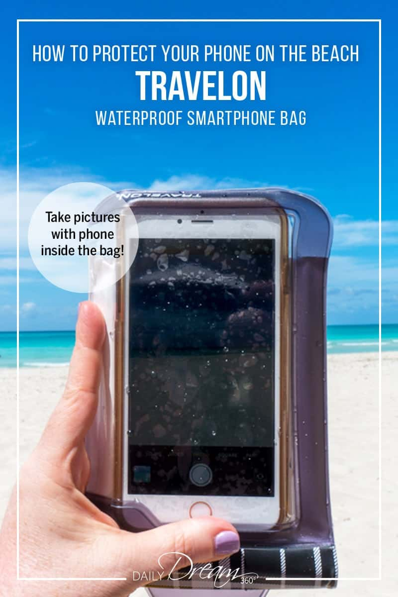 How to protect your phone on the beach! The Travelon Waterproof Smartphone pouch allows you to use your phone while keeping it safe from water and sand. | #waterproof phone #phone bag #phonepouch #waterproofpouch #beachready |