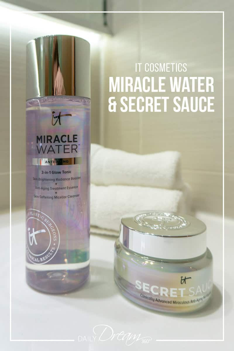 IT Cosmetics Miracle Water and Secret Sauce are powerful due that includes a toner and anti-aging moisturizer that work together to rejuvenate your skin. In this article, we review the claims and share our results. | #skincare #ITCosmetics #toner #moisturizer #anti-aging |
