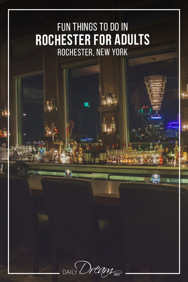 Hotel bar overlooking the  Rochester Skyline