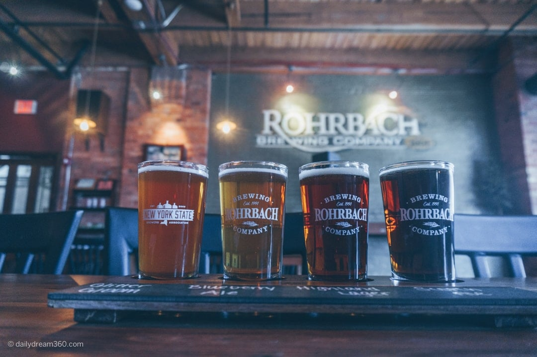 beer flight on table at Rohrback Beer Hall tasting in Rochester New York