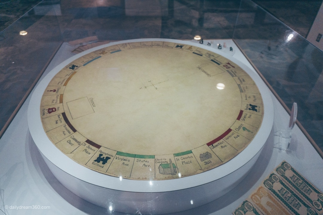 Circular Monopoly board on display at Strong Museum of Play in Rochester
