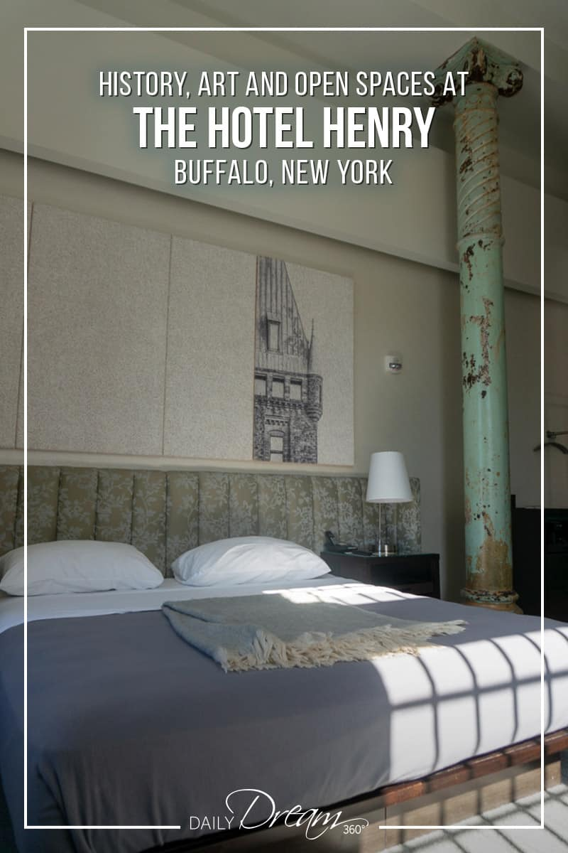 A boutique hotel set in a historic 140-year-old property, this is the beauty of the Hotel Henry Buffalo NY. With open spaces, art exhibits and modern airy rooms, this hotel is sure to impress. | #Buffalo #boutiqueHotel #hotel #travel #US |
