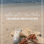 Neutrogena sunscreen products on beach next to flip flops and sunglasses with text Lightweight and Non Sticky Sunscreen A Neutrogena Sunscreen Review