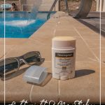 Neutrogena sunscreen products next to pool and sunglasses with text Lightweight and Non Sticky Sunscreen A Neutrogena Sunscreen Review
