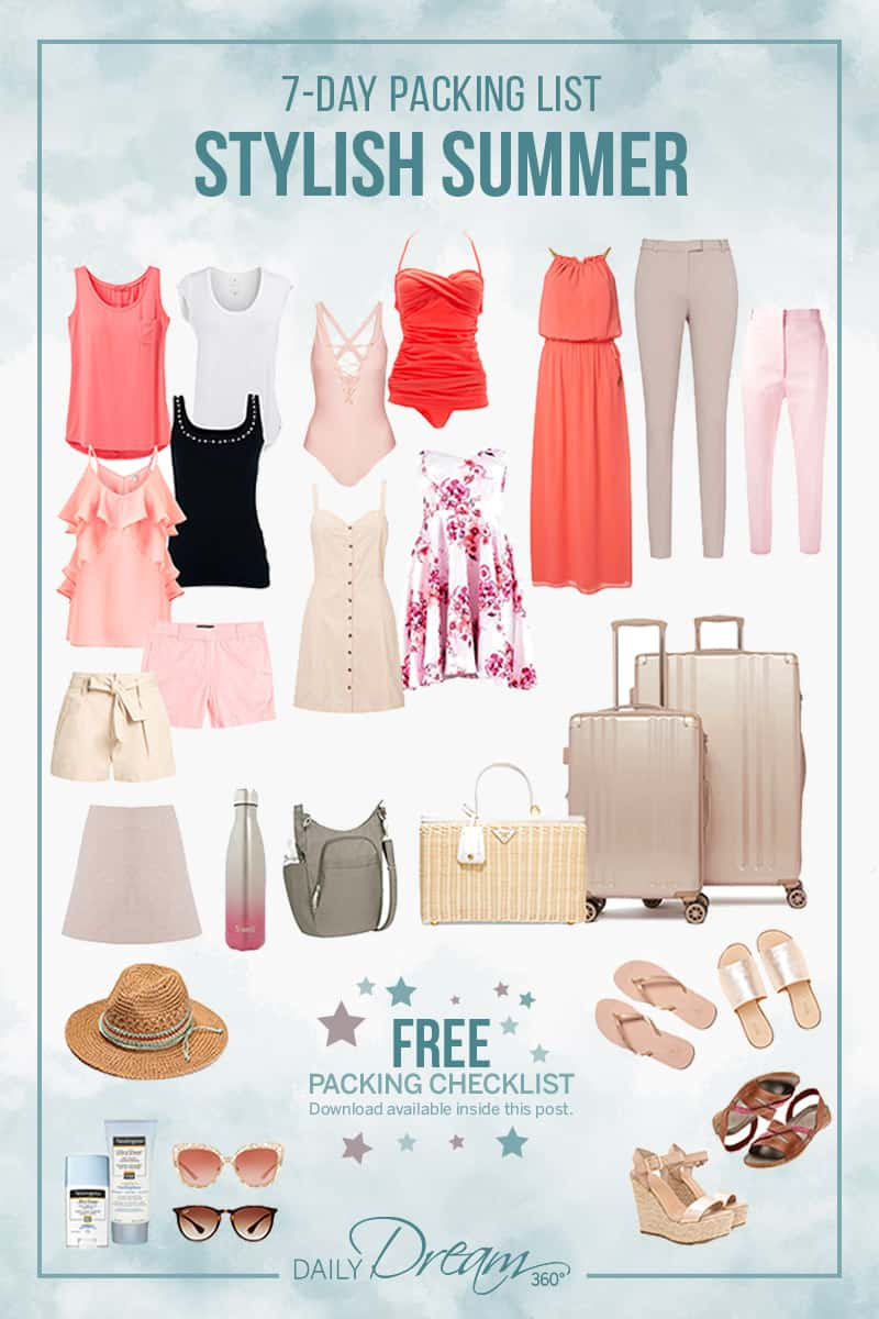 We share our travel tips for a seven-day summer packing list filled with fashion ideas for your vacation plus download a FREE summer packing checklist.   #Fashion #Summer #PackingList #Free #Download  