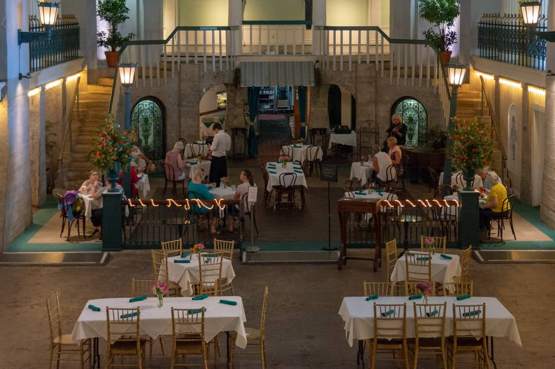 a look from above at the Cafe Alcazar in the lighter museum st. augustine
