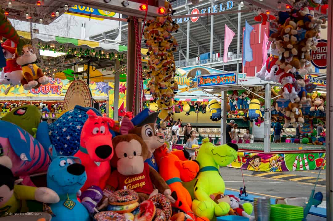 stuffed animals in game at CNE