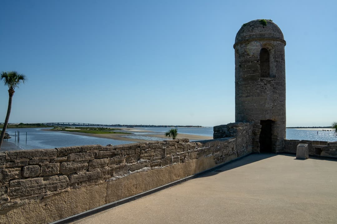 On the roof of the Castillo de San Marcos St Augustine a loot at one of the towers overlooking the river