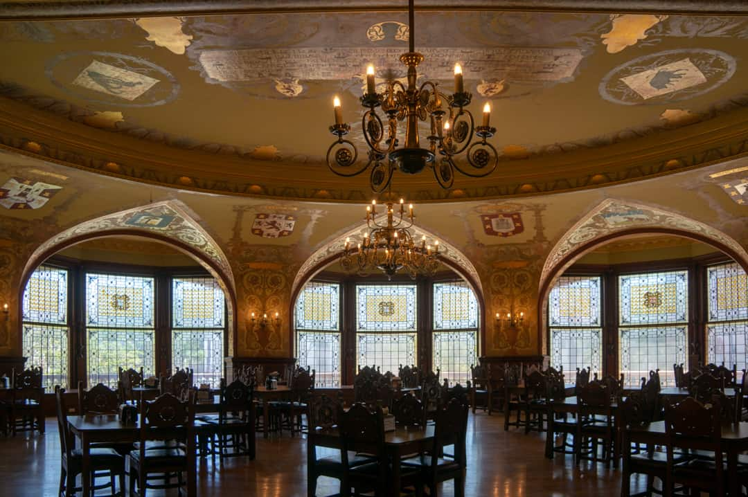 Priceless Tiffany window in dining hall at Flagler College Historic District St Augustine Florida