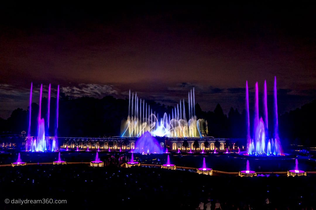Fountain show with lights at night in Longwood Gardens PA