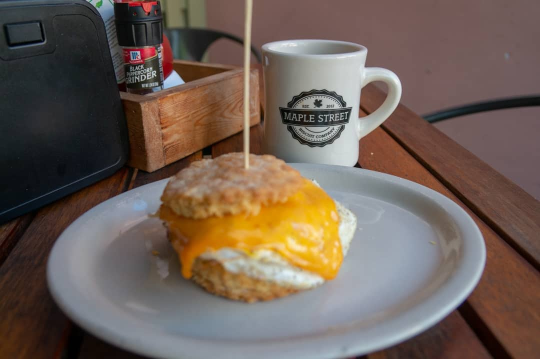 breakfast sandwich with cup of coffee at Maple Street Biscuit Company St Augustine