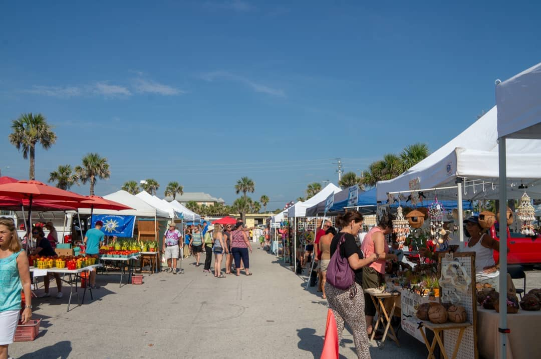 Tents and vendors Market at the Pier St Augustine Beach