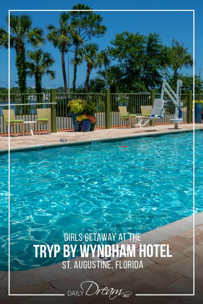 Pin Image of pool at Tryp Hotel with palm trees in the back