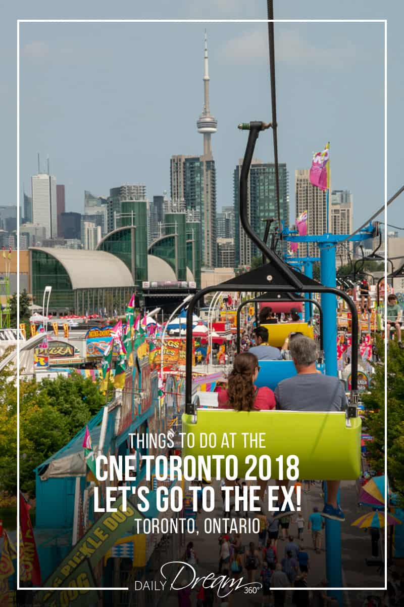 view from above on sky ride chairs at CNE with words Things to do at the CNE 2018 written on top for Pin