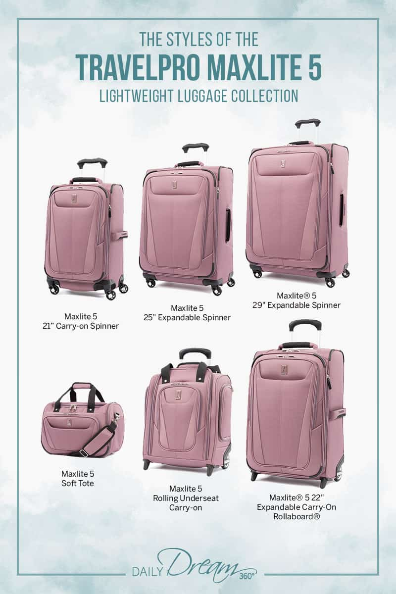 Finding stylish luggage that is durable and lightweight is not always easy, so we are happy to share the Maxlite 5 Collection from Travelpro which features many sizes and colours with great features. | #luggage #travelgear #style #fashion #bags |