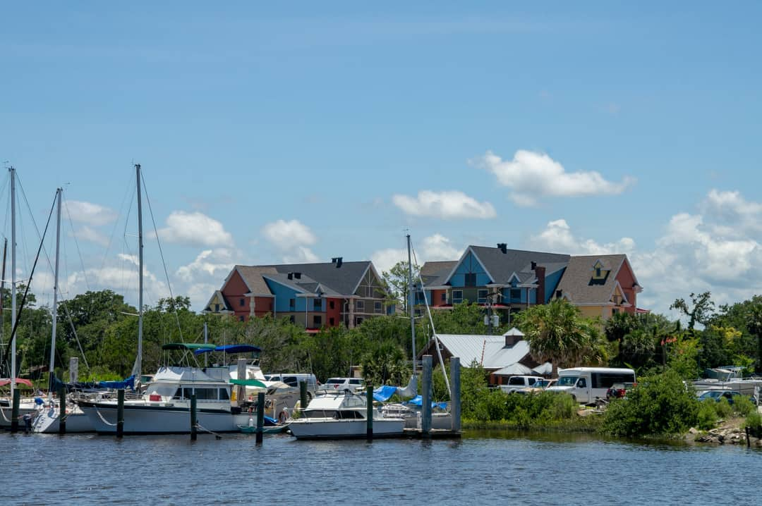 Tryp by Wyndham St Augustine view from water in front of marina with boats.