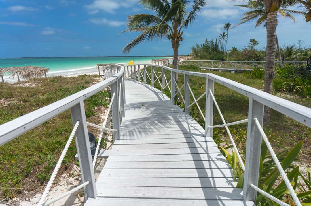 White boardwalk down to beach at Iberostar Cayo Santa Maria Grand Village Section