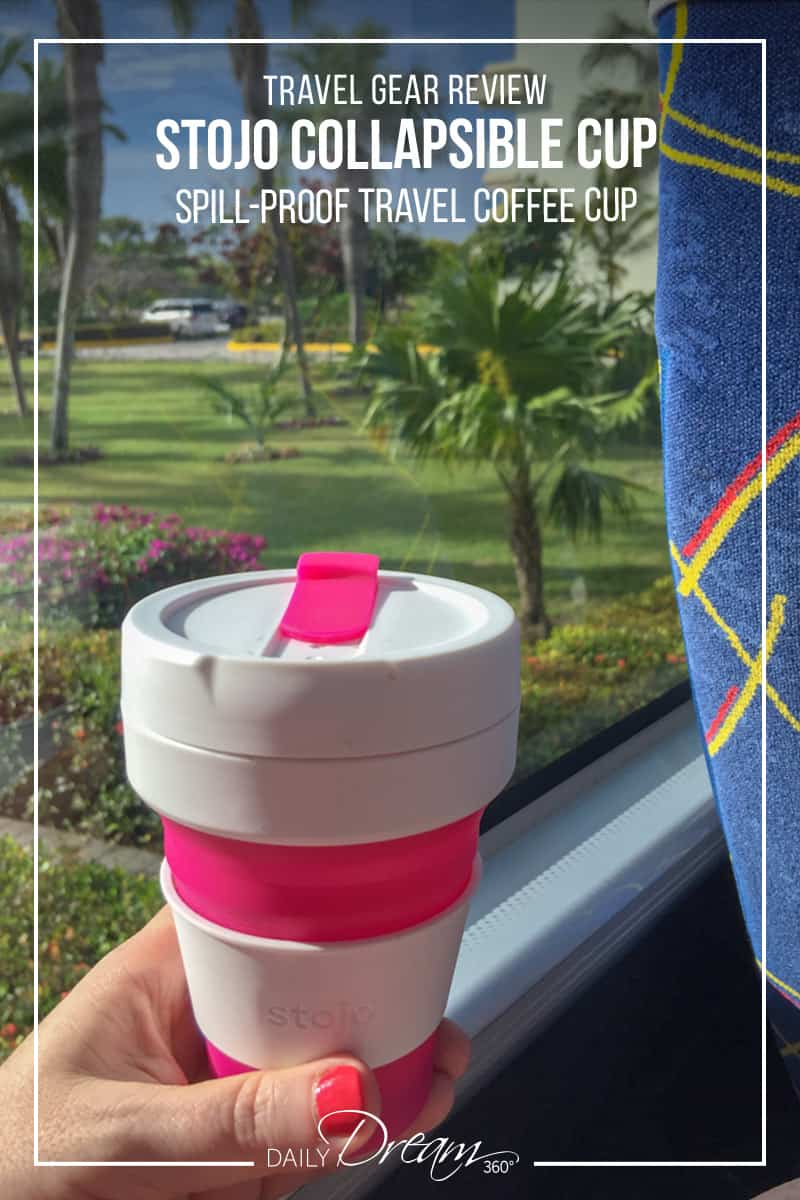 stojo coffee cup on bus looking out window in tropical destination