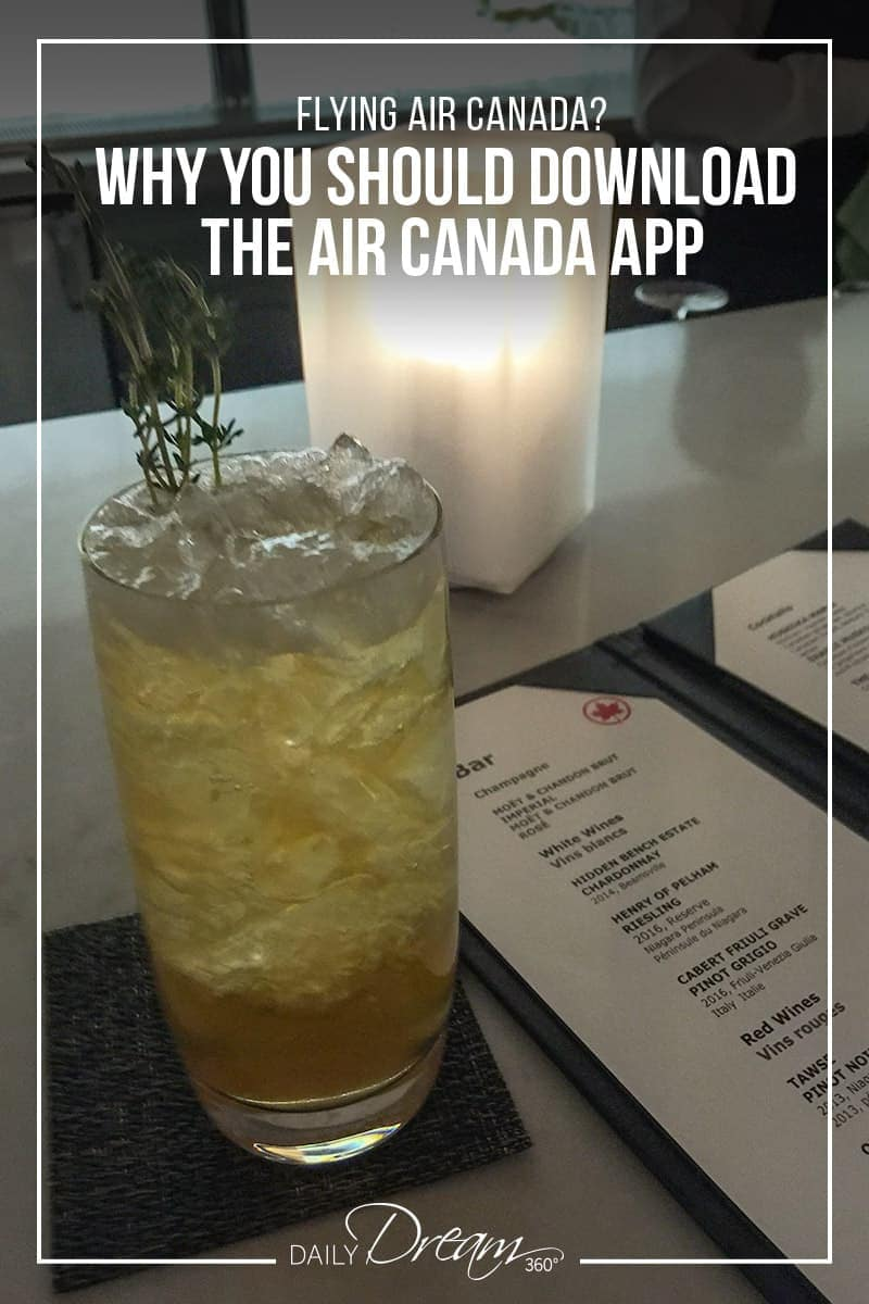 drink and menu inside signature air canada lounge with pinterest text why you should download the air canada app