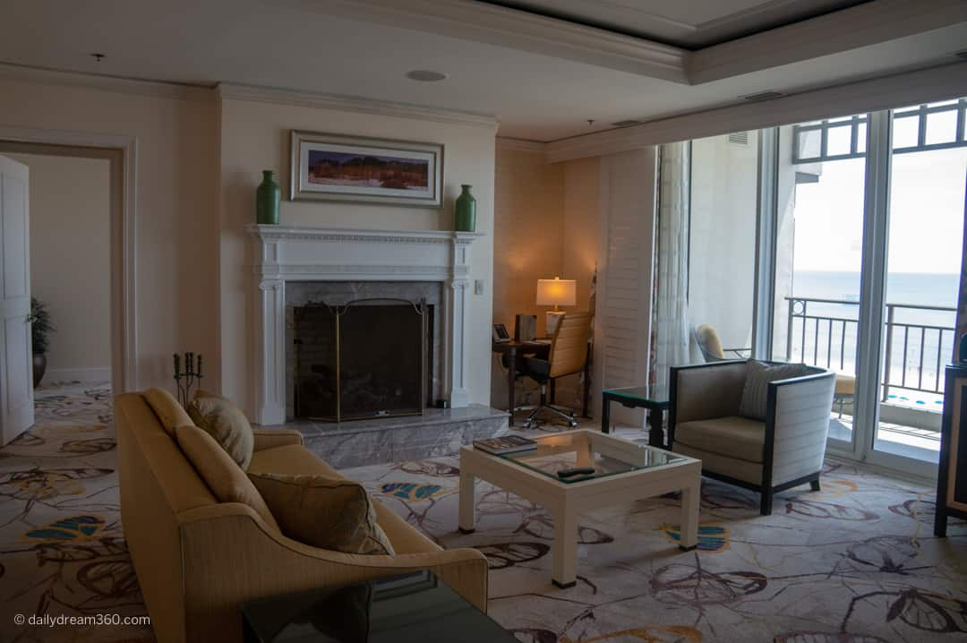 Living area in oceanfront suite at ritz-carton Florida
