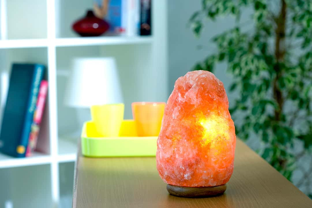 Salt Lamp on table in home_Benefits of Salt Therapy Treatments