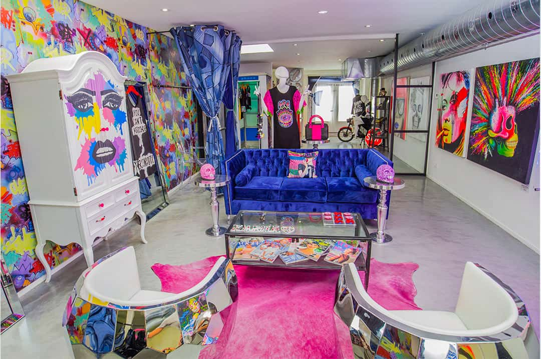 Inside the upper level of the RockNKarma store