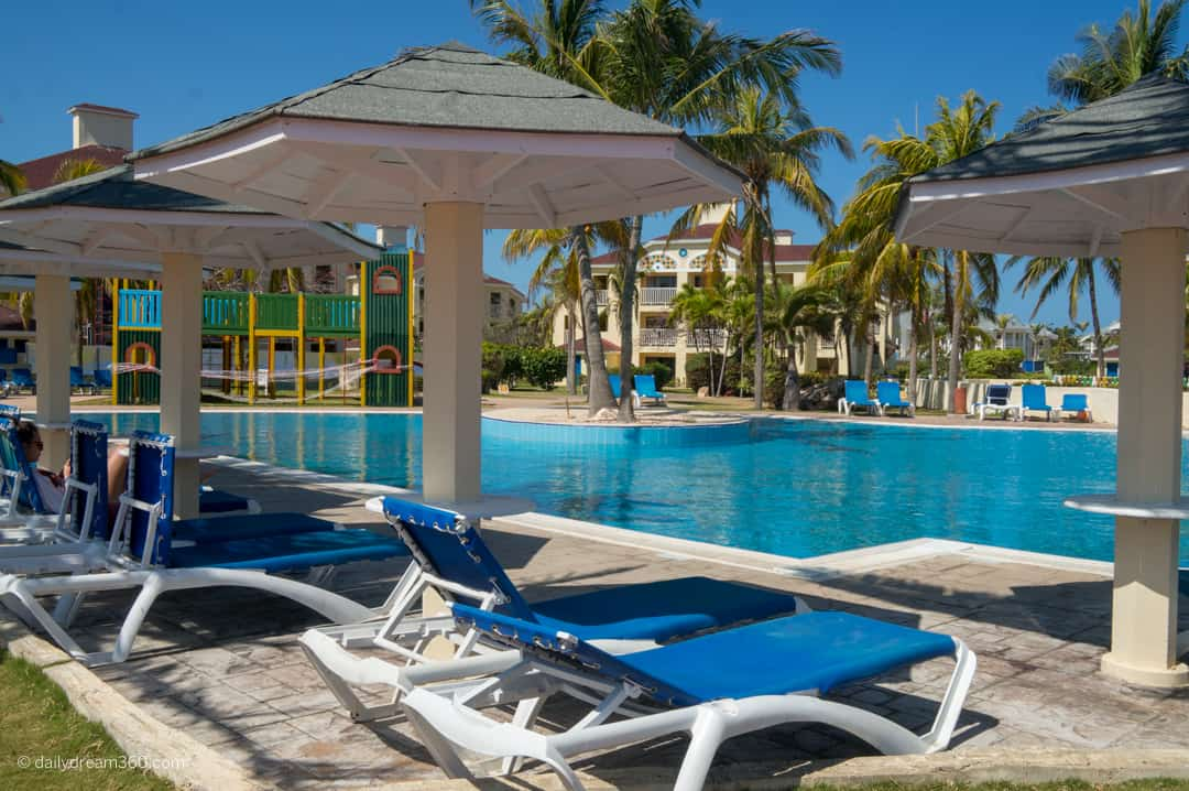 Sun chairs in front of main pool at Iberostar Playa Alameda