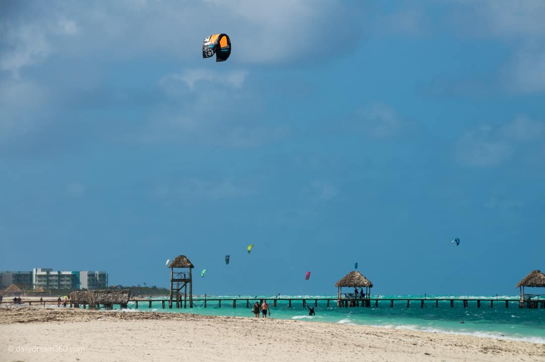very wide beach with windsurfer in sky Iberostar Daiquiri, Cayo Guillermo, Cuba