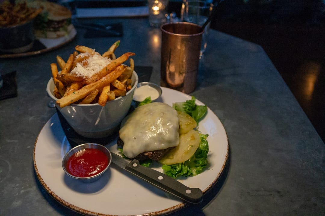 Burger and truffle fries at Ice Plant