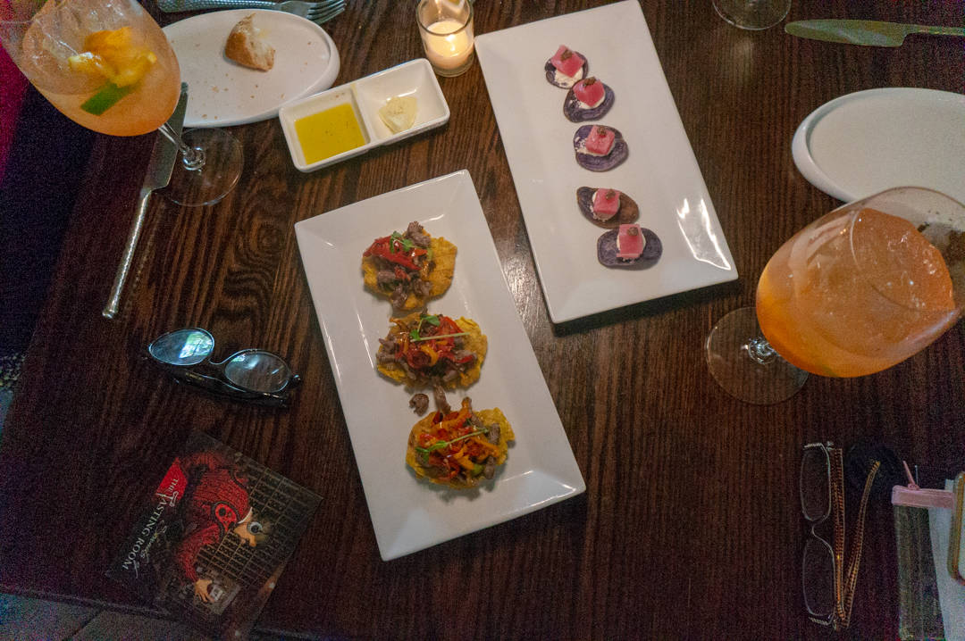 Overview of appetizers on table at Michael's Tasting Room St. Augustine Florida