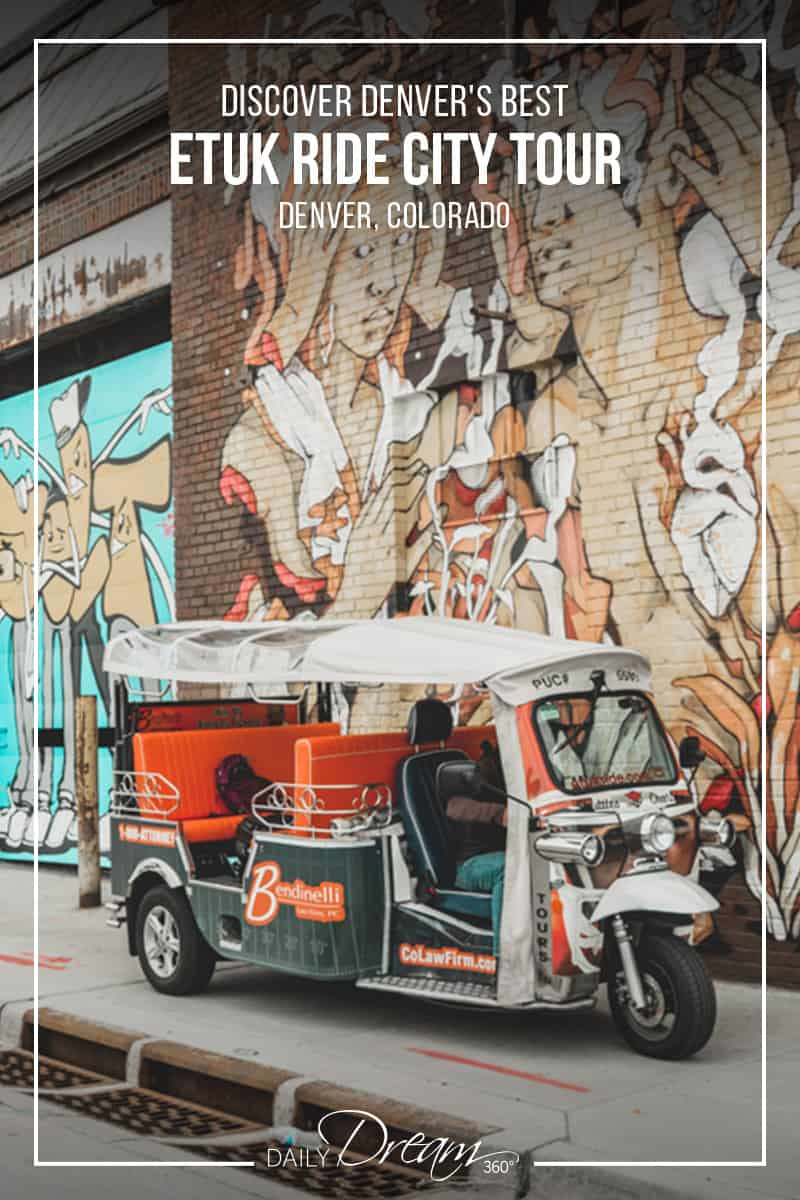 Etuk vehicle in front of wall mural Discover Denver's Best Neighbourhoods with an eTuk Ride