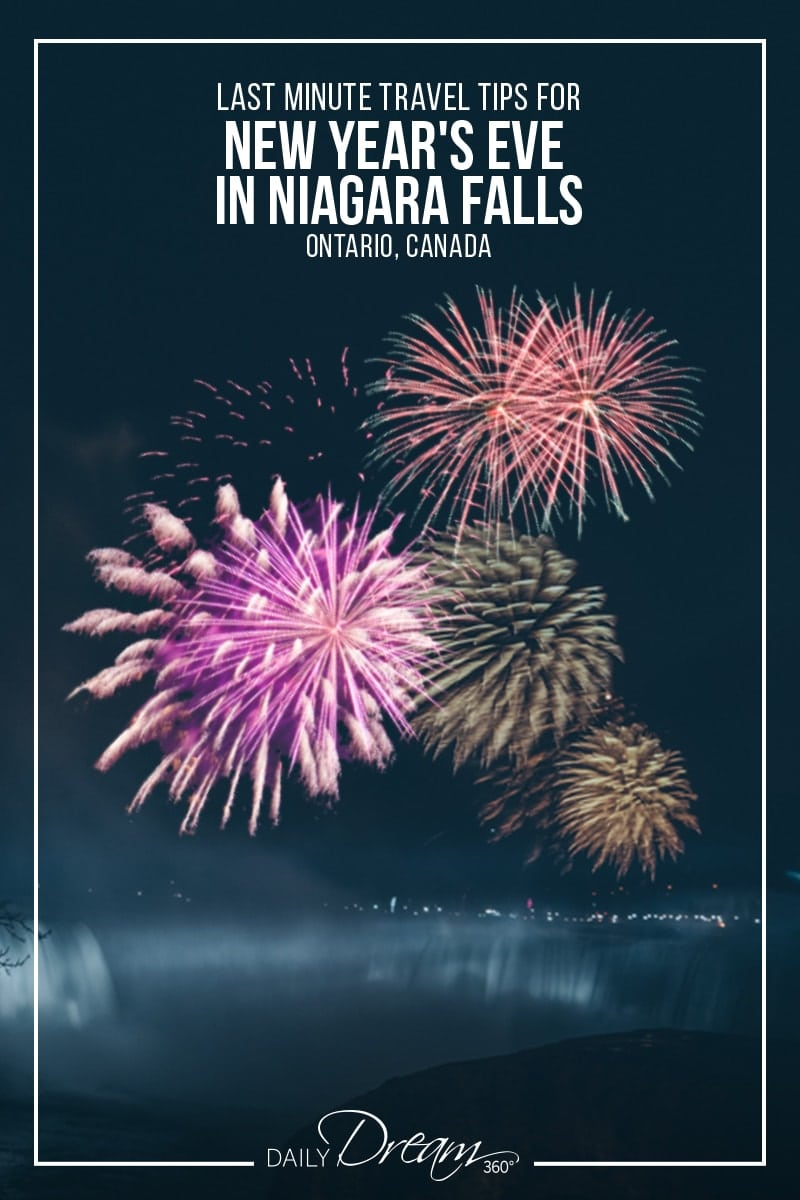Fireworks over Canadian Falls with words on Pinnable image New Years Eve in Niagara Falls