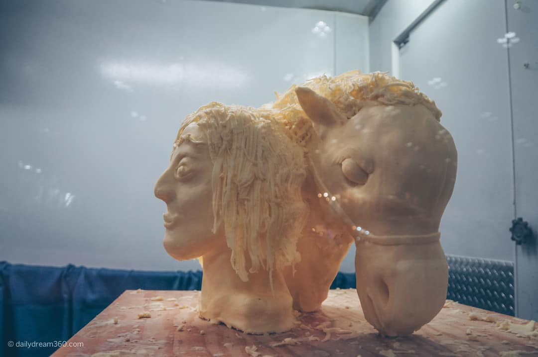 Butter Sculptures Coming face to face with a large white cow at The Royal Agricultural Winter Fair in Toronto