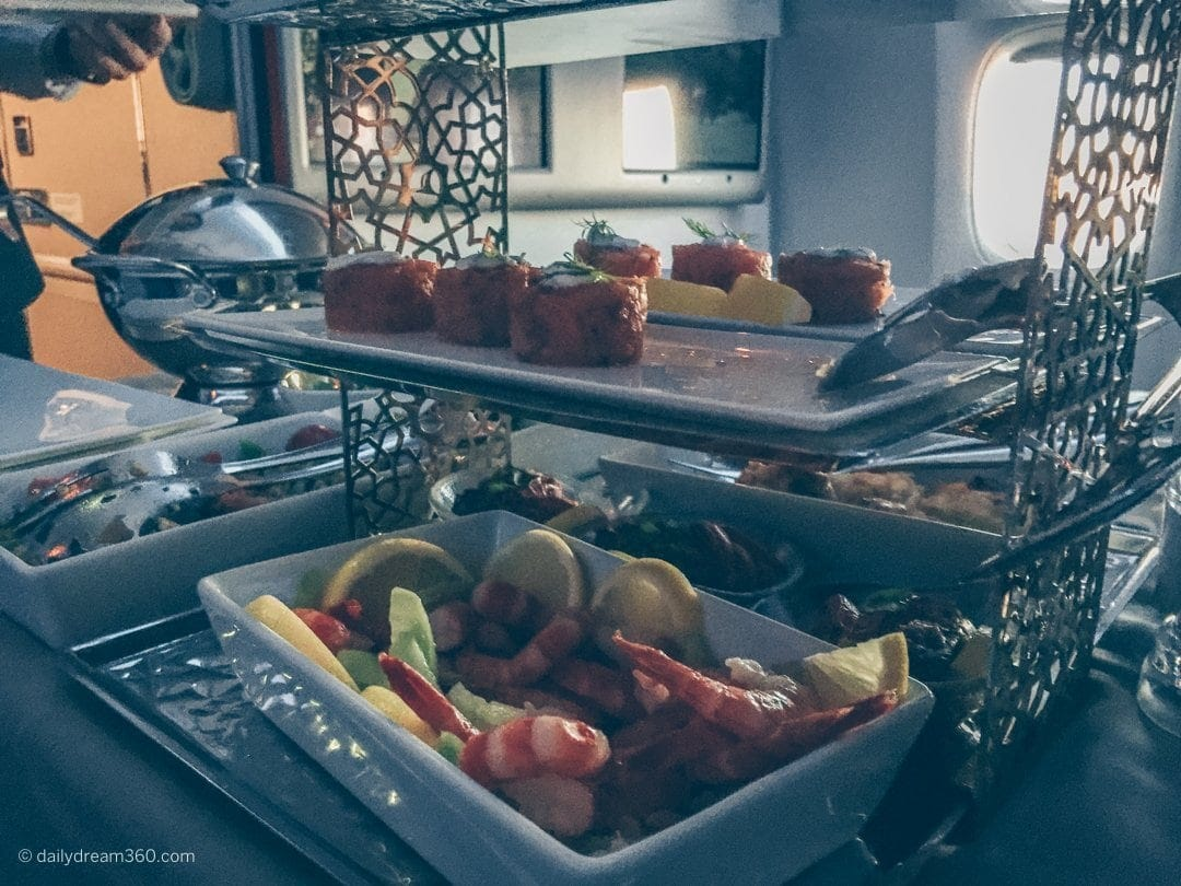 Trolley with appetizers and salads served on Turkish Airlines Business Class