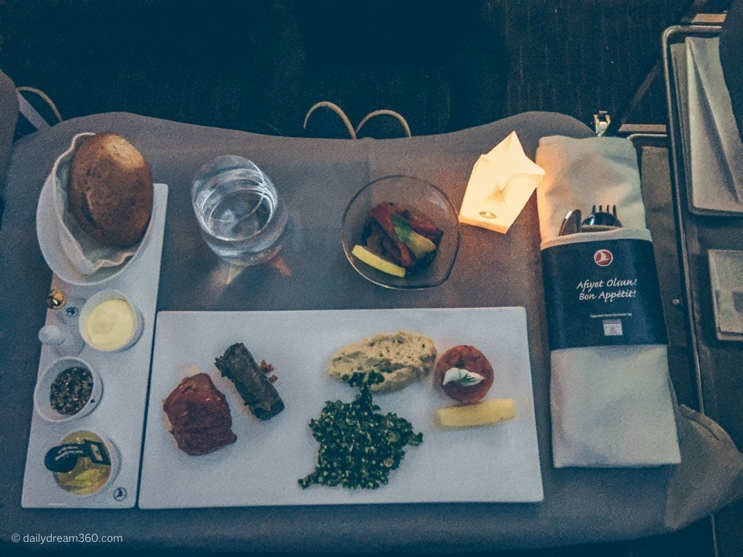 Dinner served in Business Class on Turkish Airlines