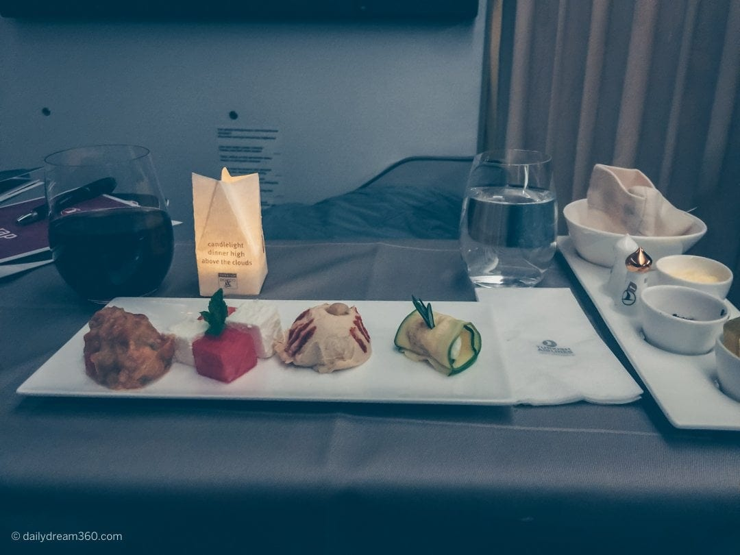 meals served by candle light on Turkish Airlines Business Class