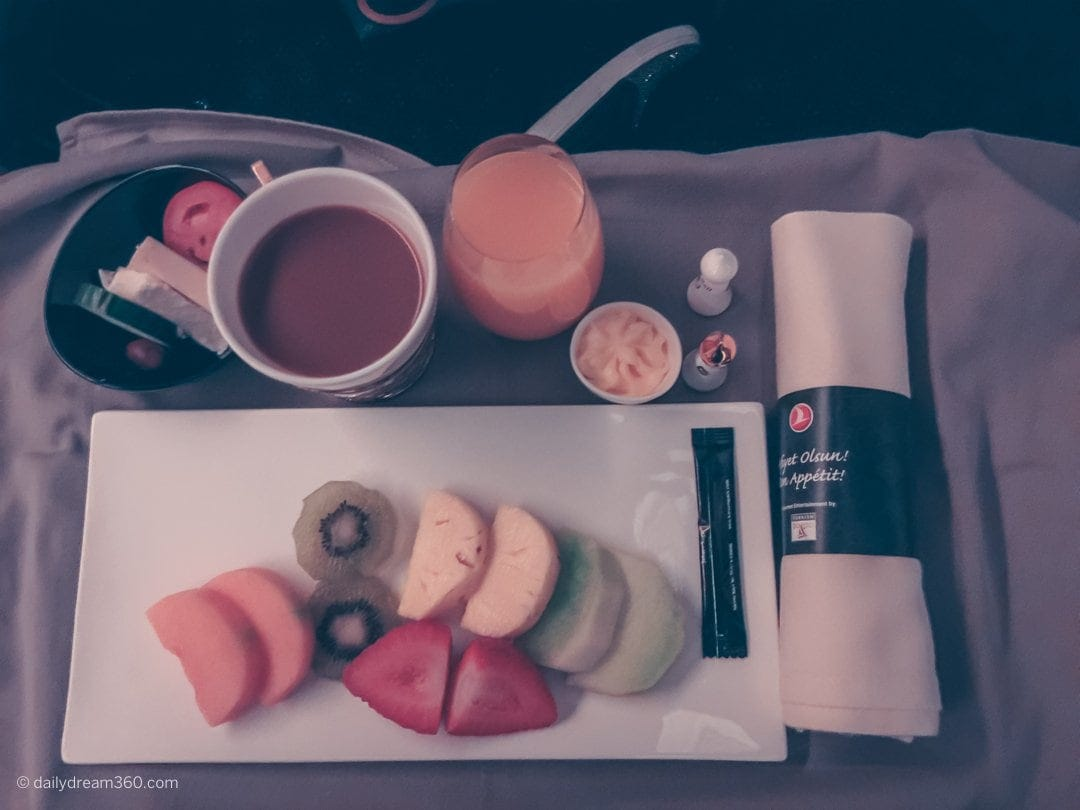 Healthy meals served on Turkish Airlines in Business Class with freshly squeezed orange juice