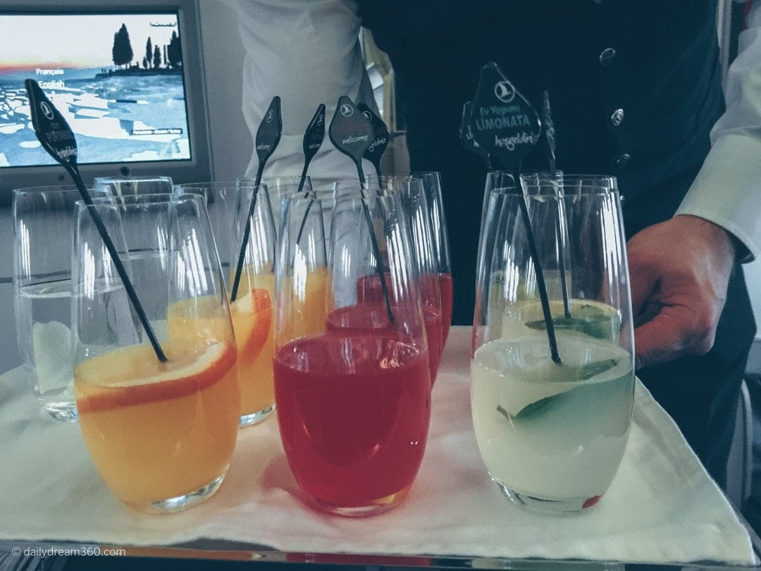 Welcome drink served in Turkish Airlines Business Class