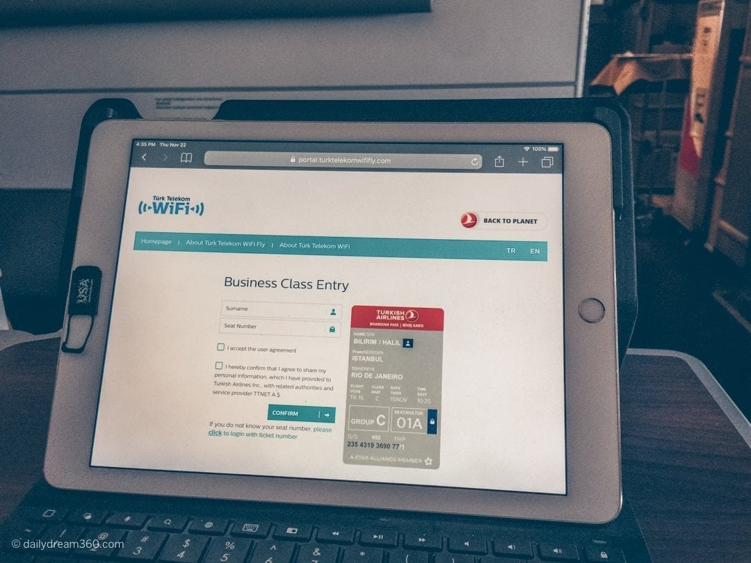 Free Wifi in Business Class on Turkish Airlines