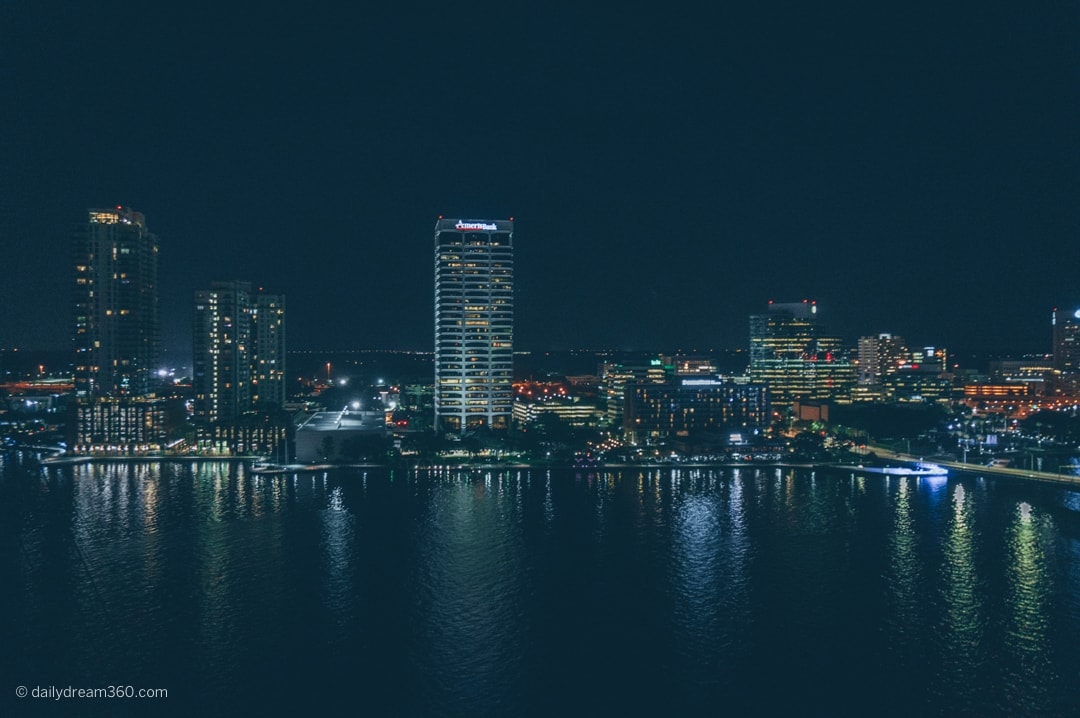 Jacksonville skyline at night, view overlooking the St. John's river.