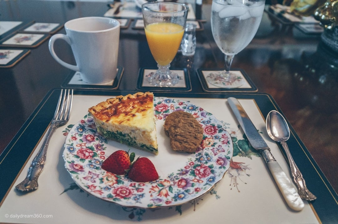 Breakfast inside at the dining room table