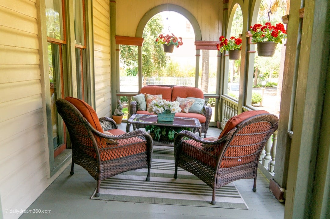 Front patio seating on porch at The Fairbanks House